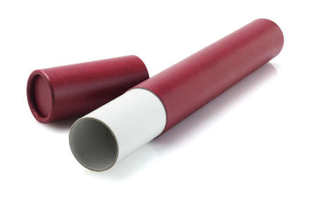 baccalaureate: Open And Empty Red Scroll Holder On White Background