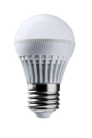 bulb light: LED Light Bulb On White Background Stock Photo