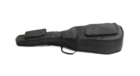 Black Guitar Carry Bag Lying On White Background photo
