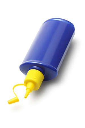 lubricator: Empty Plastic Container Lying On White Background