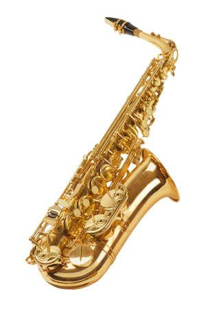 saxofon: Saxofón Aislado Sobre Fondo Blanco