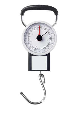 lb: Hanging Spring Scale On White Background Stock Photo