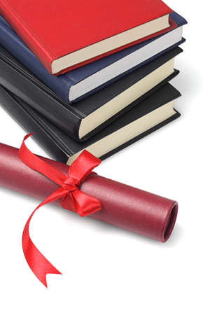 Stack Of Text Books And Scroll Container On White Background photo