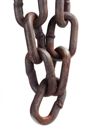 group chain: Hanging Rusty Chain On White Background Stock Photo