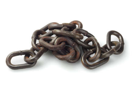 group chain: Metal Chain Lying On White Background