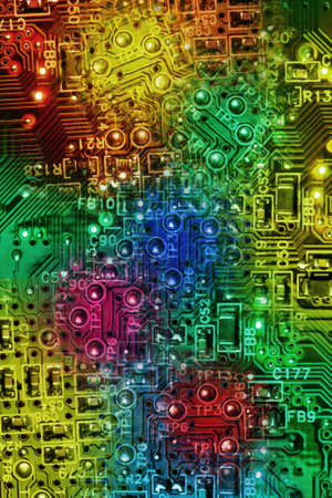 superimpose: Multi Colours Abstract Background of Computer Electronic Circuit Boards Stock Photo