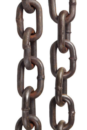 corrode: Old Metal Chains On White Background
