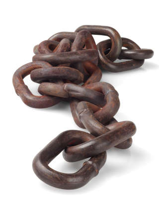 corrode: Rusty Metal Chain Lying On White Background