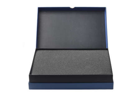 foam: Open Box With Protective Packaging Sponge Foam On White Background