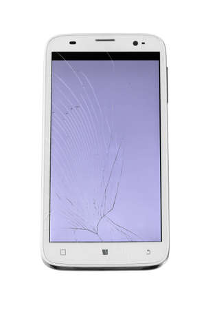 Broken Touch Screen Smartphone On White Background photo