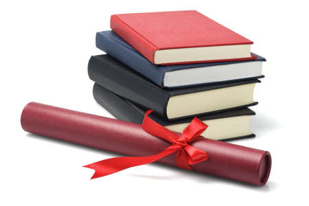 Stack Of Text Books And Graduation Scroll Container On White Background photo