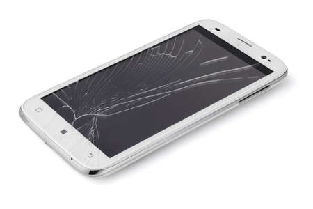 Broken Display Screen Smartphone On White Background