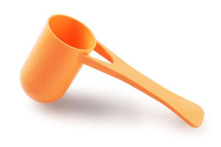 plastic scoop: Plastic Milk Powder Scoop On White Background Stock Photo