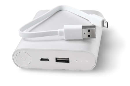 Power Bank Charger and USB Cable On White Background