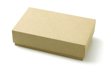 Closed Cardboard Packaging Box On White Background photo