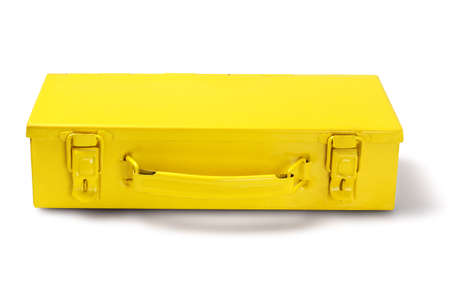 Yellow Metal Tool Box on White Background