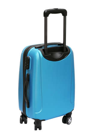 travel bag: Blue Travel Bag with Wheels Standing on White Background Stock Photo