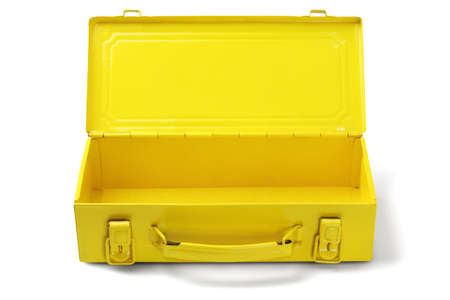 Empty Yellow Tool Box on White Background Stock Photo