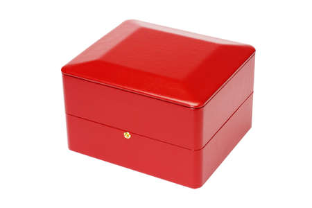 jewellery box: Red Jewellery Box on White Background Stock Photo