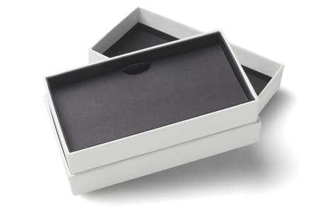 Abrir Smartphone Cartón Embalaje Caja En El Fondo Blanco Foto de archivo - 43302774