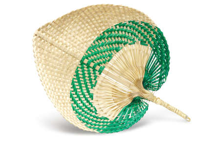 hand held: Hand Held Straw Fan on White Background