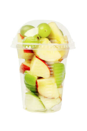Mixed Cut Fruits in Plastic Cup on White Background