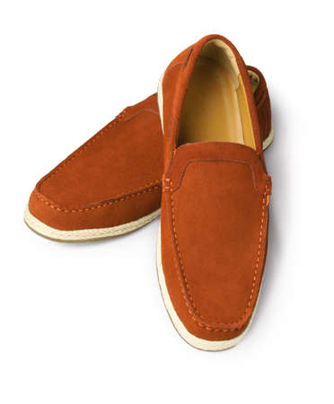 casual men: Brown Leather Casual Shoes for Men on White Background