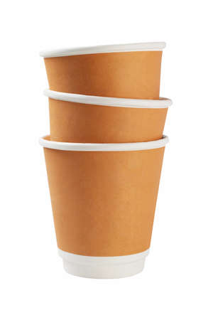 stack of paper: Stack of Paper Coffee Cups on White Background