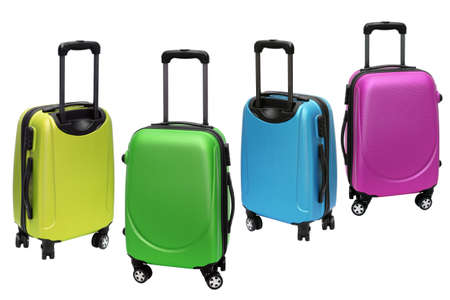 travel bag: Colourful Polycarbonate Luggage on White Background