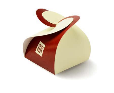 novelties: Chinese Wedding Mini Gift Box on White Background - Double Happiness Stock Photo