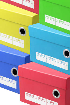 shoe boxes: Stacks of Colourful Shoe Boxes