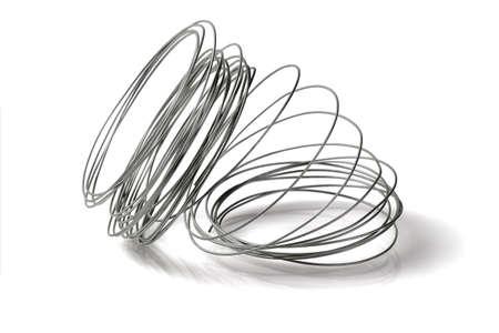 fil de fer: Lâche bobine de fil sur fond blanc