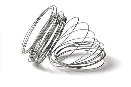 Loose Coil of Wire on White Background