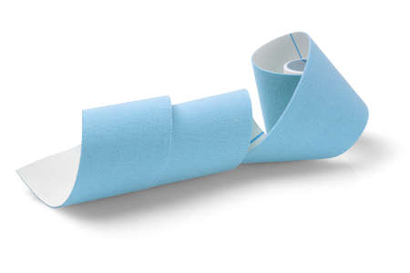 therapeutic: Blue Elastic Therapeutic Tape on White Background