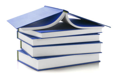 hard cover: Stack of Blue Hard Cover Books on White Background Stock Photo