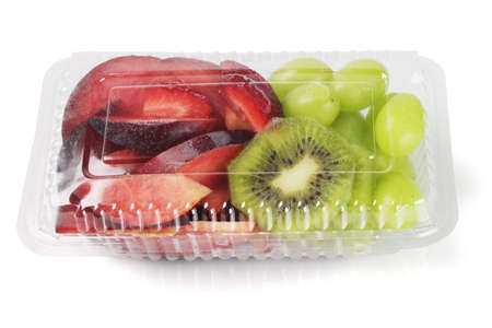 container box: Mixed Cut Fruits in Plastic Box on White Background Stock Photo
