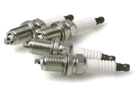 spark: Spark Plugs on White Background Stock Photo