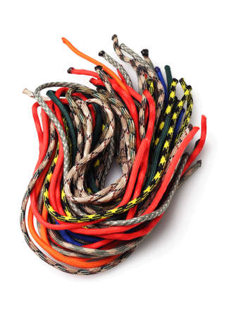para: Bundle of Colourful Para Cords on White Background