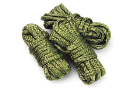 rope: Three Bundles of Para Cords on White Background