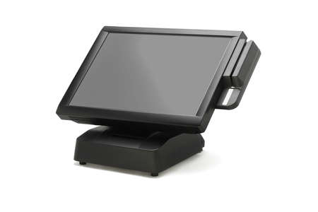 financial cash: Point Of Sale System With Wide Screen Monitor On White Background Stock Photo