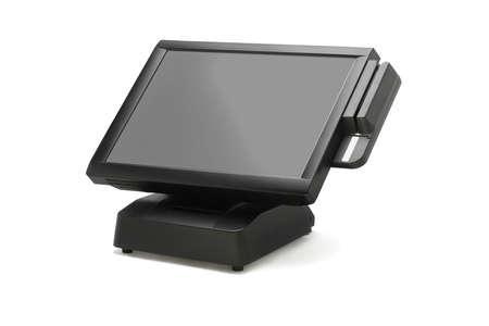 maquina registradora: Punto de venta del sistema con monitor de pantalla ancha en el fondo blanco Foto de archivo