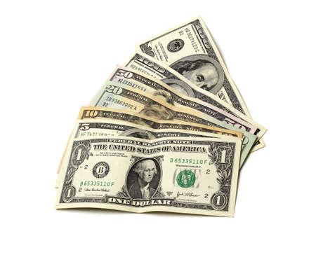 greenback: US Dollar Notes on White Background Stock Photo
