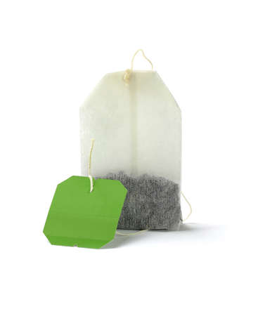 Green Tea Bag With Blank Label on White Background 免版税图像