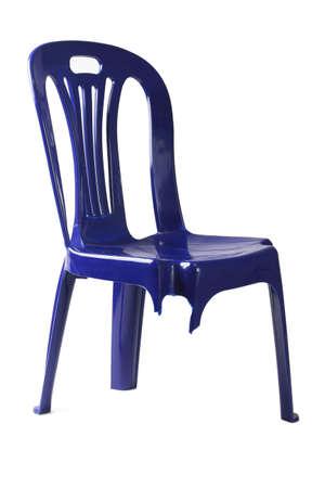 broken chair: Plastic Chair with Broken Leg on White Background