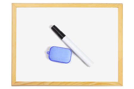 marker pen: Marker Pen and Eraser Lying on Small White Board