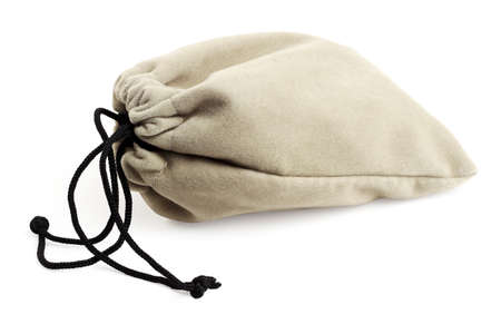 Pouch Bag With Drawstring Lying on White Background Stock Photo