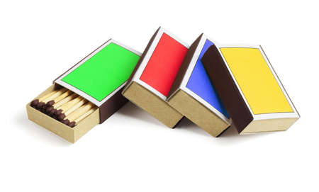 Four Colourful Match Boxes on White Background