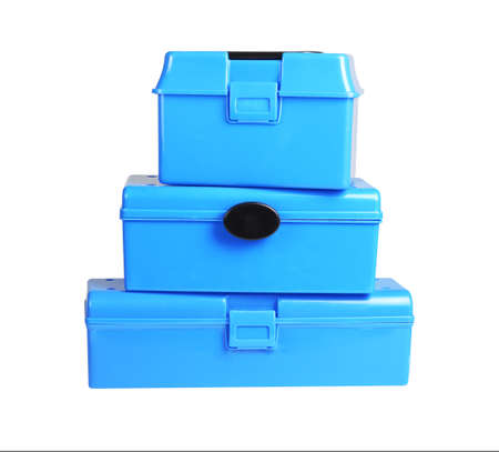 Threee Plastic Storage Boxes on White Background 免版税图像 - 123944157