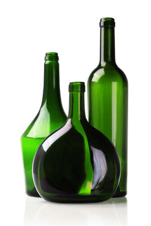 Empty Glass Wine Bottles on White Background