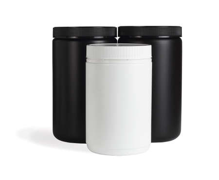 Three Cylindrical Shape Plastic Containers on White Background Stock fotó